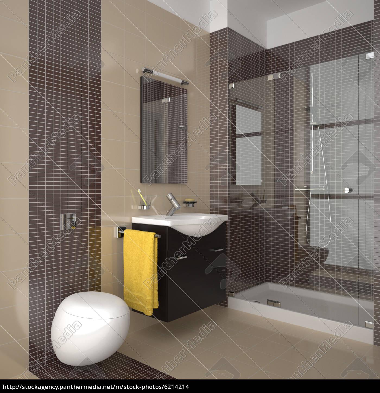 modernes badezimmer mit beige und braun fliesen - Stock Photo ...