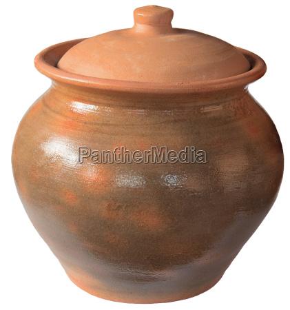 alter keramiktopf mit einem deckel