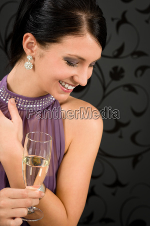 woman party dress drink champagne glass