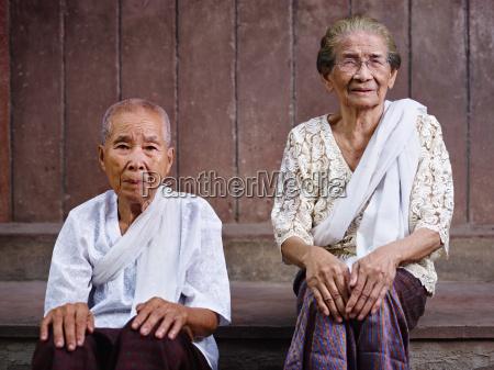 portrait of two senior asian women