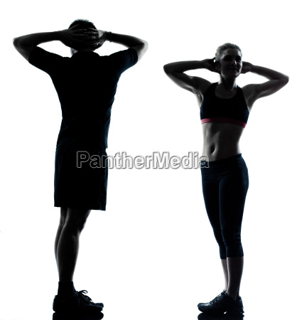 one couple man woman exercising workout