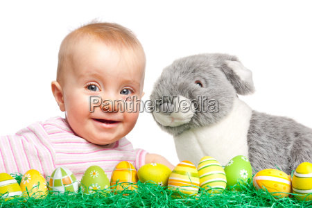 toddler with easter bunny and easter