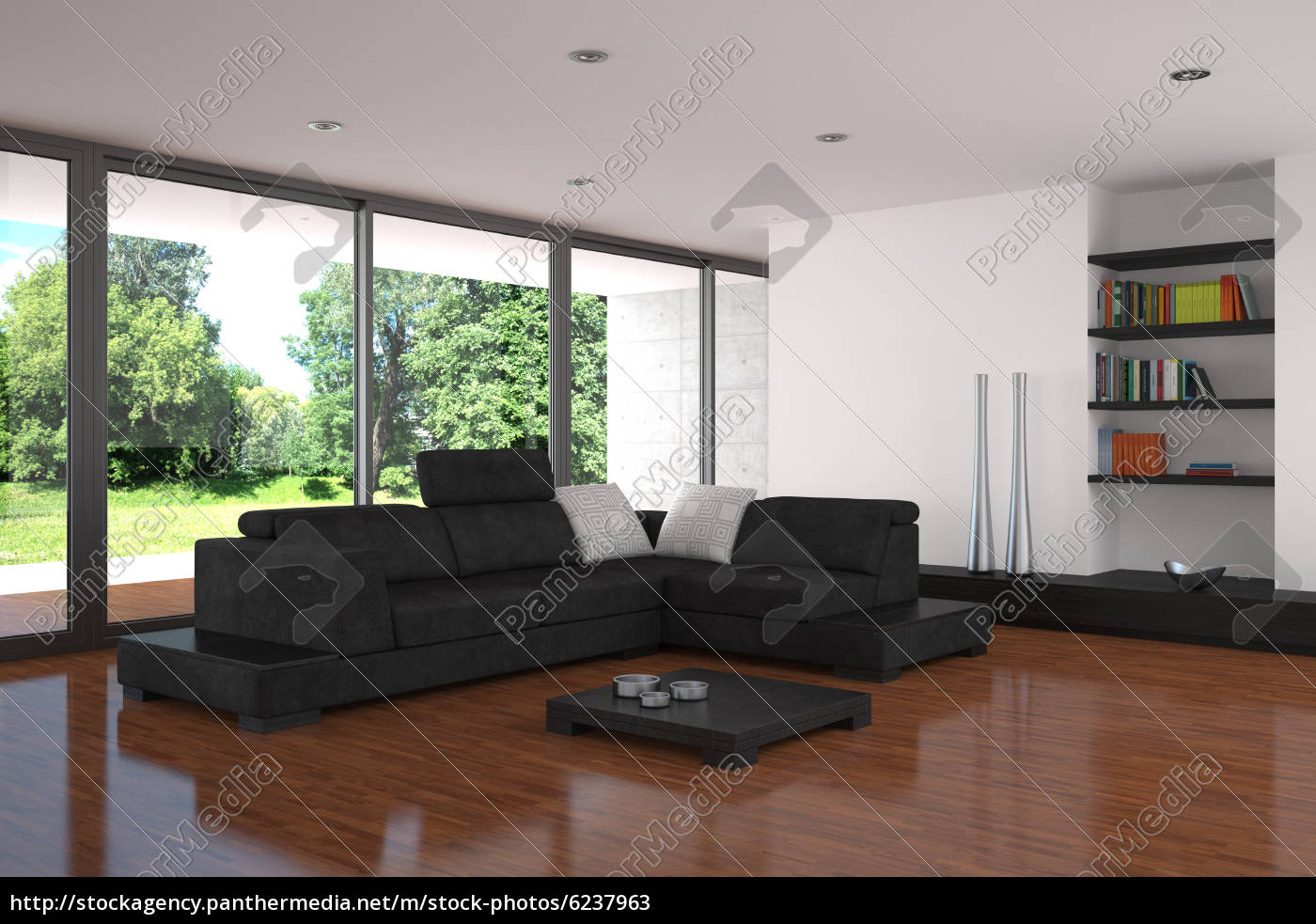 Moderne Wohnzimmer Mit Parkettboden Stockfoto 6237963