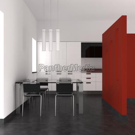 modernes interieur mit kueche und esszimmer