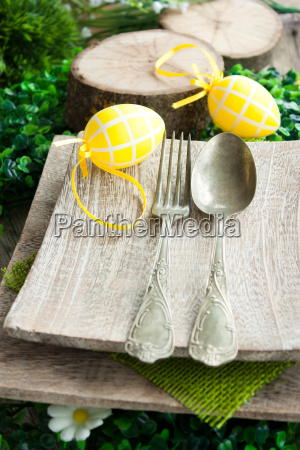 fork and knife in rustic