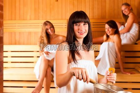 wellness four women in sauna