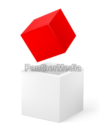 red and white cube