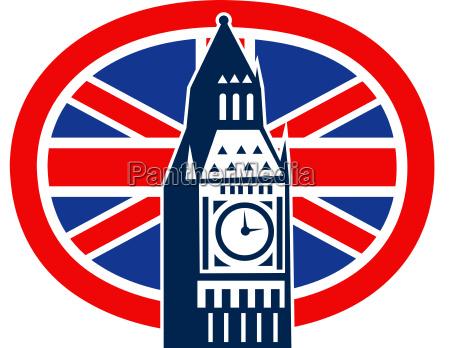 london big ben britische union jack