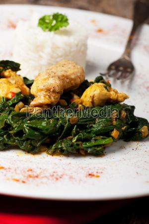 indischen murgh palak spinat huhn gericht