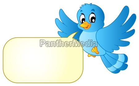 blauer vogel mit comic blase