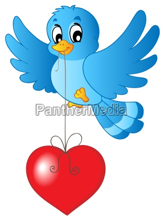 blauer vogel mit herz auf zeichenfolge