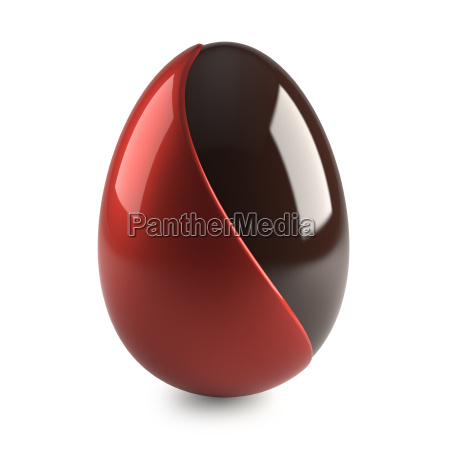 chocolate easter egg with red decoration