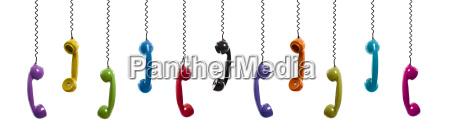 farbige vintage telefone