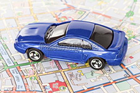 blue car on dublin city map