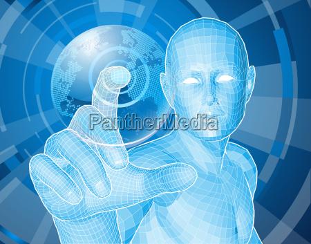 future man globe selection concept