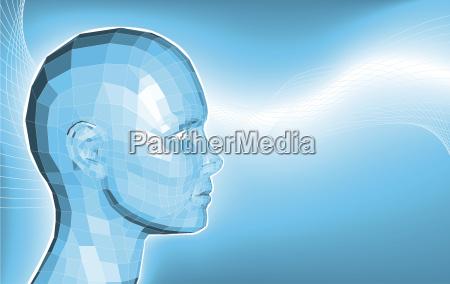 futuristic 3d face business background