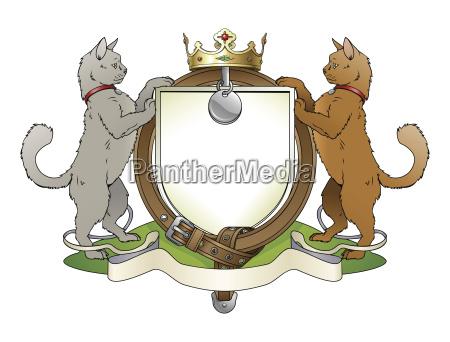 katze haustiere heraldischen schild wappen