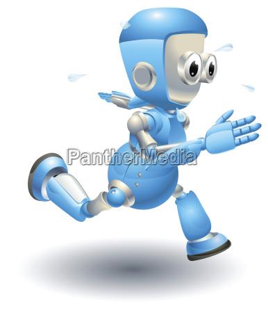 niedlichen blauen roboter charakter lauf