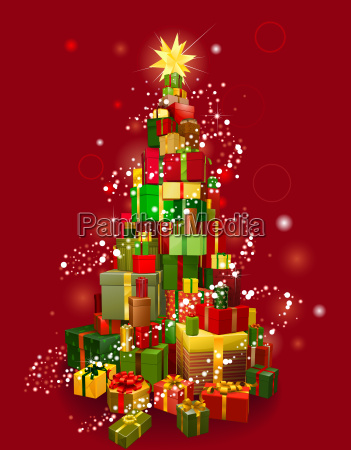 christmas gift tree with red background