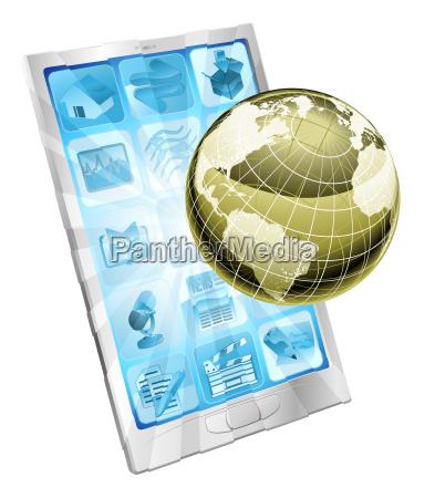 mobile phone globe concept