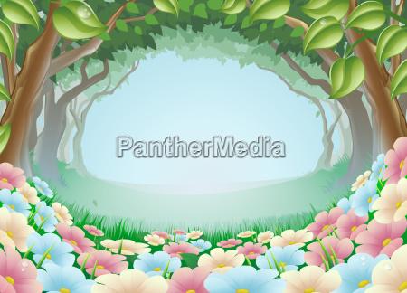 schoene fantasy forest scene illustration