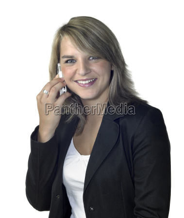 smiling girl with mobile phone on