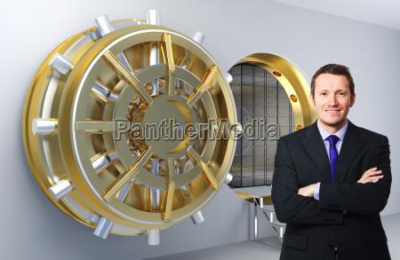 man and bank