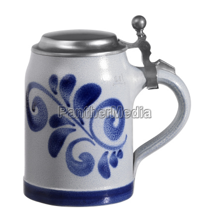 stein with metallic cap
