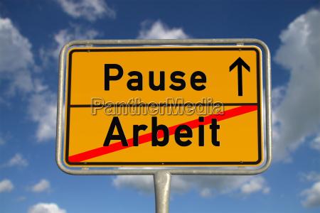 german ortsschild work break