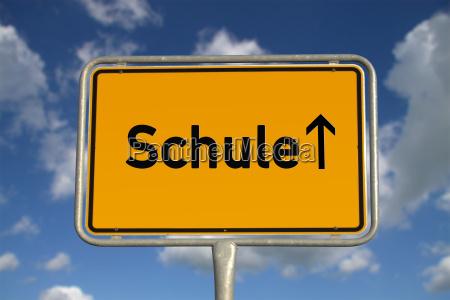 german town sign school