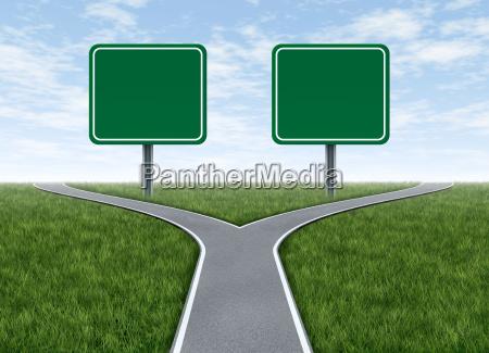 zwei optionen mit leeren verkehrszeichen