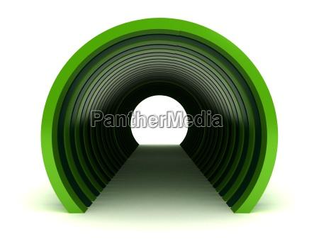gruener tunnel getrennt auf weissem hintergrund