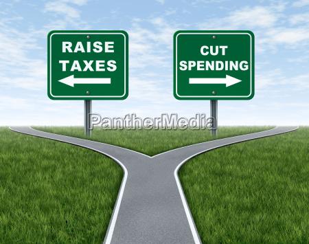 die anhebung von steuern oder ausgabenkuerzungen
