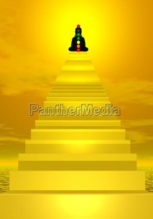 treppen zu buddha und chakren
