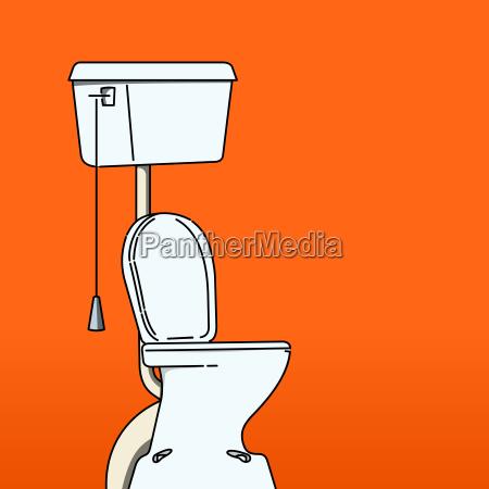 toilettenschuessel auf rotem hintergrund