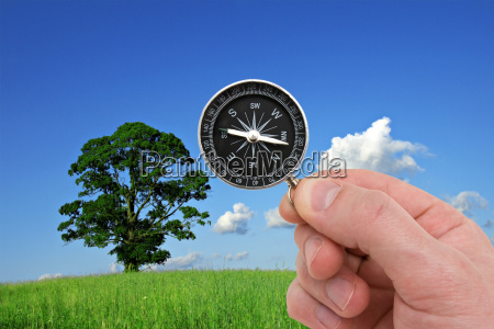 hand with compass on nature background
