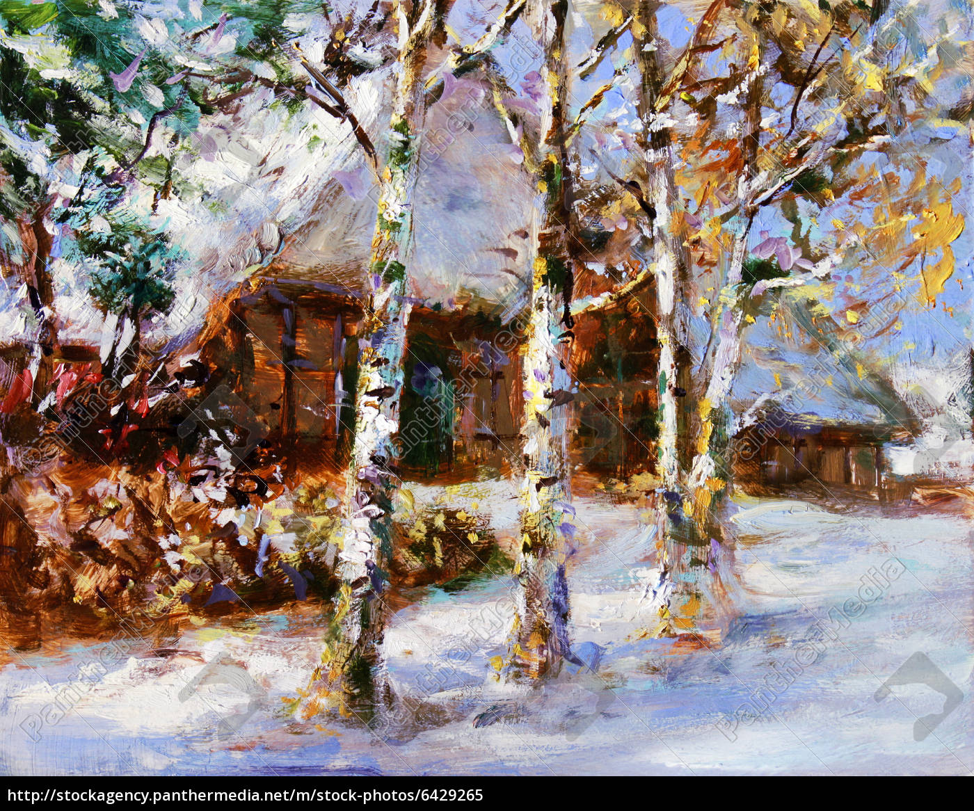 winter motiv landschaft gemalt - Lizenzfreies Bild - #6429265 ...