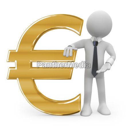 business man leaning on the euro