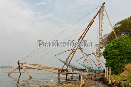 chinesisches fischernetz in kochi kerala indien