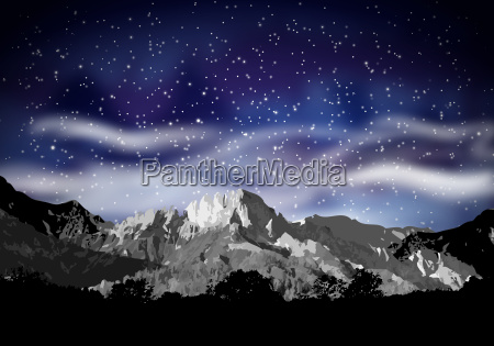 abstract mountain silhouette and night sky