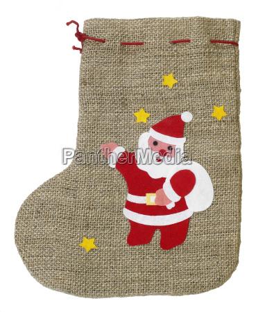 decorative christmas sock with santa claus