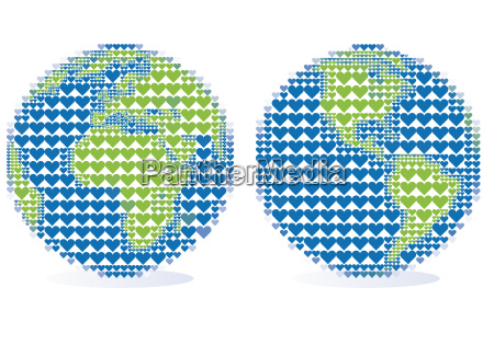 earth globe with heart pattern vector