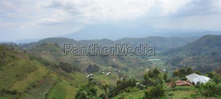 panoramic view in the virunga mountains