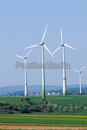 four wind turbines