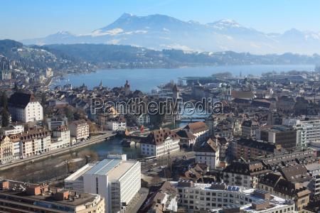 winter cityscape of lucerne switzerland