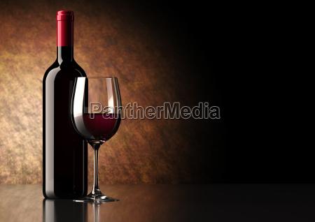 rotwein flasche mit glas