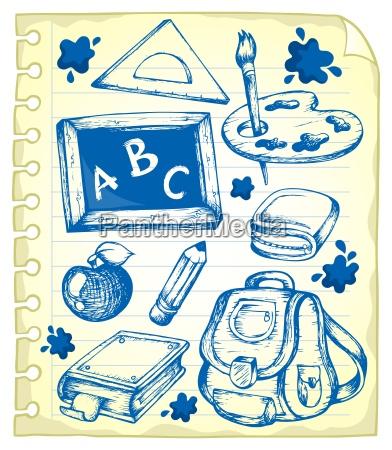 notepad seite mit der schule zeichnungen