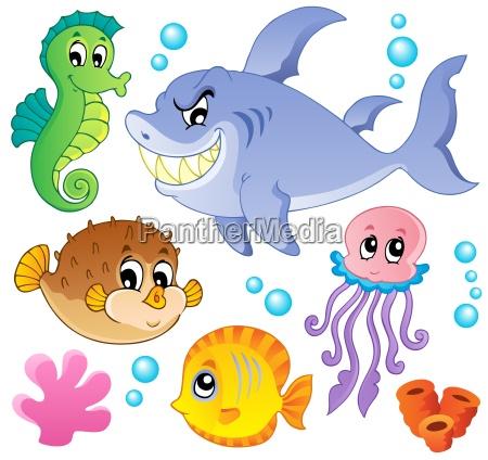 meer, fische, und, tiere, sammlung, 4 - 6493503