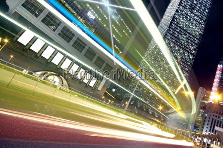 night light trace modern architecture background