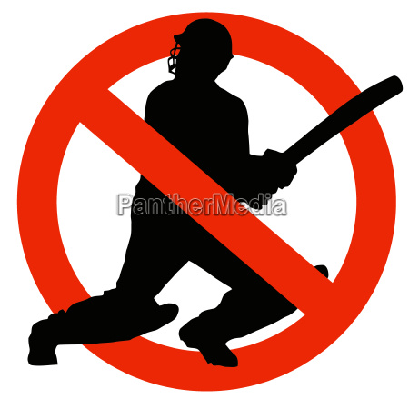 cricket player silhouette on traffic prohibition